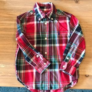 Green and red plaid button up